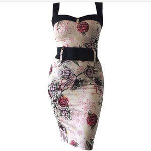 Switchblade Stiletto Tattoo Amor Wiggle Dress